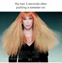 Cher, Makeup, and Memes: My hair 2 seconds after  putting a sweater on.  Woman's orld Winter struggles Repost @diplyflawless •▪• This is way too real. ⠀ ⠀ flawless diply beauty instabeauty glam instaglam makeupmemes truth relatable makeup MUA sweaterweather hair hairmemes static cher