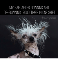 Makeup, Memes, and Hair: MY HAIR AFTER GOWNING AND  DE-GOWNING 7000 TIMES IN ONE SHIFT  nurses My makeup rubbed off during hour 2, my hair is a static mess, and I'm sweating buckets. Nursing is so glamorous 😋 snarkynurses