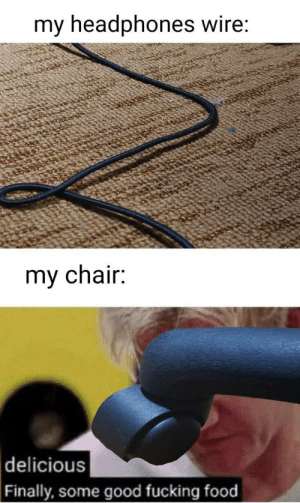 Fucking Food: my headphones wire:  my chair:  delicious  Finally, some good fucking food