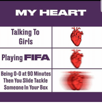 Intensity 👏🏽😝👊🏽: MY HEART  Talking To  Girls  Playing FIFA  Being 0-0 at 90 Minutes  Then You Slide Tackle  Someone In Your Box Intensity 👏🏽😝👊🏽
