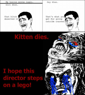 Movie logic Memes: My horror movie logic.  Girl dies  Guy dies  That's what you  get for going  outside unarmed.  That bitch  deserved it  11  Kitten dies.  I hope this  director steps  on a lego!  VIA 9GAG.COM Movie logic Memes