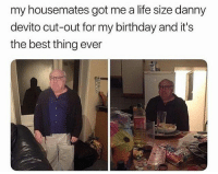 Gimme dat.: my housemates got me a life size danny  devito cut-out for my birthday and it's  the best thing ever Gimme dat.