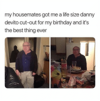 🤣😂: my housemates got me a life size danny  devito cut-out for my birthday and it's  the best thing ever 🤣😂