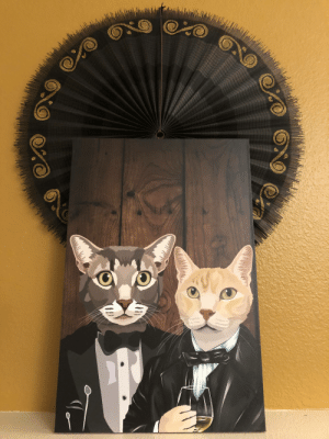 My husband got this made for my birthday. Our cats look like a high society gay couple in it😂: My husband got this made for my birthday. Our cats look like a high society gay couple in it😂