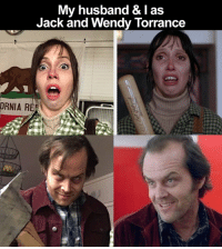 My husband & I as  Jack and Wendy Torrance  ORNIA REA They are the couple from 'The Shining' Did they nail it?! 👀😲💀