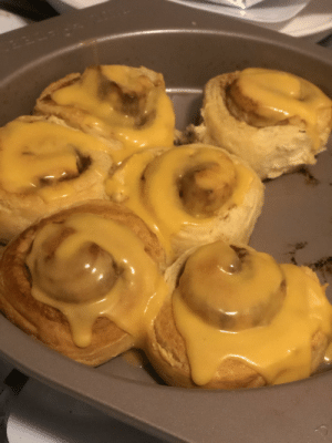 My Husband wanted a sweet treat. I made orange rolls. To keep it interesting, one of these has nacho cheese on it.: My Husband wanted a sweet treat. I made orange rolls. To keep it interesting, one of these has nacho cheese on it.