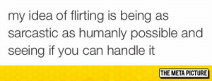 awesomesthesia:  My Idea Of Flirting: my idea of flirting is being as  sarcastic as humanly possible and  seeing if you can handle it  THE META PICTURE awesomesthesia:  My Idea Of Flirting