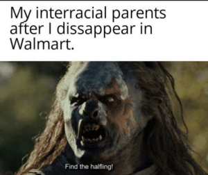 srsfunny:The orc lookin cute: My interracial parents  after I dissappear in  Walmart.  Find the halfling! srsfunny:The orc lookin cute