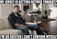 Nba, Spurs, and Jersey: MY JERSEY IS GETTING RETIRED TONIGHT?  @NBAMEMES  I'M SO EXCITEDICANT CONTAIN MYSELF Congrats, Timmy! #Spurs Nation