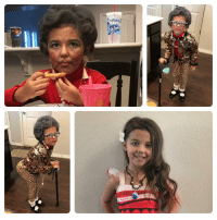 Anaconda, Old, and Her: My kid wanted to be 100 years old for her 100th day of kindergarten (last photo is her looking 6)