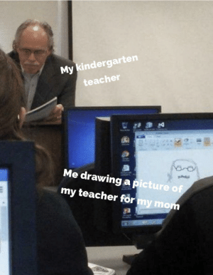 I'm not an artist but I try: My kindergarten  teacher  Me drawing a picture of  my teacher for my mom I'm not an artist but I try