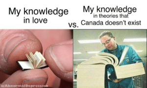 Canada is just a hoax!: My knowledge My knowledge  vs. Canada doesn't exist  in theories that  in love  u/AbnormalDepression Canada is just a hoax!