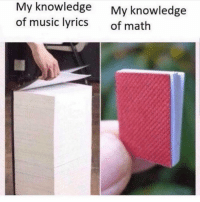 Funny, Memes, and Music: My knowledge  of music lyrics  My knowledge  of math SarcasmOnly