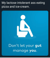 Shitty memes: My lactose intolerant ass eating  pizza and ice-cream  Don't let your gut  manage you. Shitty memes
