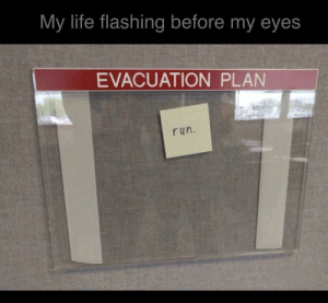 memehumor:The reality of what would actually happen: My life flashing before my eyes  EVACUATION PLAN  run. memehumor:The reality of what would actually happen