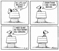 This strip was published on March 10, 1962.: MY LIFE HAS  BECOME A  BORE!  I NEED TO SET  MY FACE TOWARD  NEW HORIZONS  3-/O  EVERYTHING  I SEE IVE SEEN  BEFORE This strip was published on March 10, 1962.