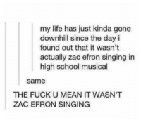 Fucking, High School Musical, and Life: my life has just kinda gone  downhill since the day i  found out that it wasn't  actually zac efron singing in  high school musical  same  THE FUCK U MEAN IT WASN'T  ZAC EFRON SINGING