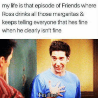 Friends, Life, and Memes: my life is that episode of Friends where  Ross drinks all those margaritas &  keeps telling everyone that hes fine  when he clearly isn't fine  m iine FREE Delivery on everything this weekend including T-shirts and jumpers! Check out https://relationshipproblems.teemill.com to see what we have!