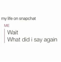 So accurate: my life on snapchat  ME  Wait  What did i say again So accurate