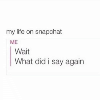 True 🙄: my life on snapchat  ME  Wait  What did i say again True 🙄