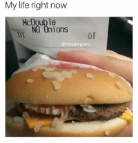Life, Memes, and 🤖: My life right now  McDouble  NO Onions T  DT  @theyamgram 😂😂 (@theyamgram)