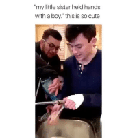 "Cute, Memes, and Good: ""my little sister held hands  with a boy."" this is so cute These are good brothers! 😂 Credit: @cala_mari"