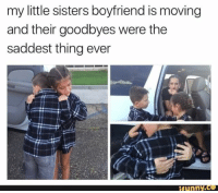 Funny, Lol, and Love: my little sisters boyfriend is moving  and their goodbyes were the  saddest thing ever  funny.Ce Do you remember your first love? 💏 Like & share @ifunny.co . . . . . lol fun humor ifunny hilarious funnyshit joke funny meme funnymemes funny dankmemes comedy hoodjokes