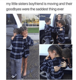 awesomacious:  These kids are so precious: my little sisters boyfriend is moving and their  goodbyes were the saddest thing ever awesomacious:  These kids are so precious