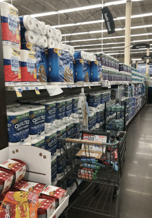 My local grocery store at almost noon this morning. It's the first time in a month I've seen it like this. It gives my sanity some hope.: My local grocery store at almost noon this morning. It's the first time in a month I've seen it like this. It gives my sanity some hope.