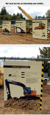 <p>New Zoo Species.</p>: My Local zoo has an interesting new exhibit...  Hydraulic excavator  Shovelis maximus  10-5 high, 32-0long, 9- 9 wide  53,936 pounds  This full-sized treaded hydraulic excavator  can climb steep terrain and rapidhy  excavate large holes and trenches up to  21 feet down. This excavator can fuly  rotate 12 times per minute. Its bucket can  hold up to 2,800 pounds of soil.  DEERE <p>New Zoo Species.</p>