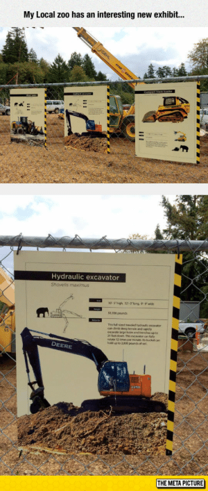 lolzandtrollz:  New Zoo Species: My Local zoo has an interesting new exhibit..  Hydraulic excavator  Shovelis maximus  10-5 high, 32-0long, 9-9 wide  53,936 pounds  This full-sized treaded hydraulic excavator  can dlimb steep terrain and rapidy  excavate large holes and trenches up to  21 feet down. This excavator can fully  rotate 12 times per minute. Its bucket can  hold up to 2.800 pounds of soil.  S5  DEERE  225D  THE META PICTURE lolzandtrollz:  New Zoo Species