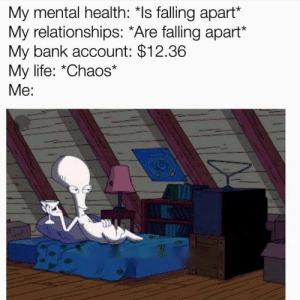 meirl by d4hm3r MORE MEMES: My mental health: *Is falling apart*  My relationships: *Are falling apart*  My bank account: $12.36  My life: *Chaos*  Me: meirl by d4hm3r MORE MEMES