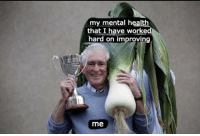 Memes, 🤖, and Mental Health: my mental health  that I have worke  hard on improving  me https://t.co/RVyYqlVhAp