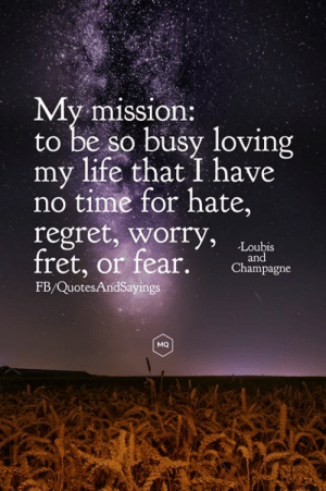 Loving my life: My mission:  to be so busy loving  my life that I have  no time for hate,  regret, worry,  fret, or fear.  Loubis  and  Champagne  FB/QuotesAndSayings  MQ Loving my life