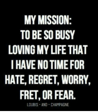 Memes, Regret, and Champagne: MY MISSION:  TO BE SO BUSY  LOVINGMY LIFE THAT  I HAVE NOTIME FOR  HATE, REGRET, WORRY,  FRET, OR FEAR.  LOUBIS AND CHAMPAGNE