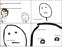 Reddit rage comics have ruined me!: My mom after her first date after not dating in  years.  Well  think I was a troll and run away  mom  think I was a troll  think I was a troll  think I was a troll  You mad bro?  You mad bro? Reddit rage comics have ruined me!
