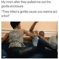 """Funny, Gif, and Lol: My mom after they pulled me out the  gorilla enclosure  """"They killed a gorilla cause you wanna act  a fool""""  GIF Poor gorilla I watched the video it was trying to protect the child dragged the shit out him tho lol but still ... But this shit funny tho 😂😂"""