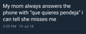 "Its when they dont use profanity that I get worried.: My mom always answers the  phone with ""que quieres pendeja"" i  can tell she misses me  9:55 PM 19 Jul 18 Its when they dont use profanity that I get worried."