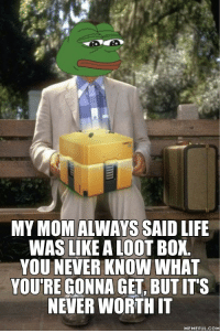 Life, Never, and MeIRL: MY MOM ALWAYS SAID LIFE  WAS LIKE A LOOT BOX  YOU NEVER KNOW WHA  YOU'RE GONNA GET, BUT ITS  NEVER WORTH IT  MEMEFUL.COM Meirl