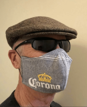 My Mom made my Dad a mask, she found the scarf a few years ago and had it in her sewing scrap bin. I'm thankful for their sense of humour, my parents are great.: My Mom made my Dad a mask, she found the scarf a few years ago and had it in her sewing scrap bin. I'm thankful for their sense of humour, my parents are great.