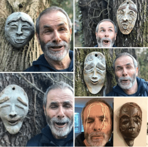 My mom makes pottery masks as a hobby. My dad is going quaran-crazy. This is the result.: My mom makes pottery masks as a hobby. My dad is going quaran-crazy. This is the result.