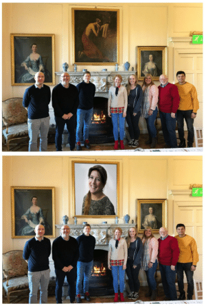 Photoshop, Mom, and Group: My mom missed a group photo, so she offered to Photoshop herself in:
