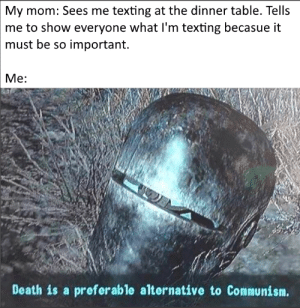 Reddit, Texting, and Death: My mom: Sees me texting at the dinner table. Tells  me to show everyone what I'm texting becasue it  must be so important.  Me:  Death is a preferable alternative to Communism. Every time... she gets me