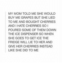 Memes, 🤖, and Lie to Me: MY MOM TOLD ME SHE WOULD  BUY ME GRAPES BUT SHE LIED  TO ME AND BOUGHT CHERRIES  ANDI HATE CHERRIES SO I  POURED SOME OF THEM DOWN  THE ICE DISPENSER SO WHEN  SHE GOES TO GET ICE THE  FRIDGE WILL LIE TO HER AND  GIVE HER CHERRIES INSTEAD  LIKE SHE DID TO ME oh wow