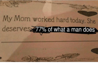 "Dank, Meme, and Http: My Mom worked hard today. She  deserves  77% of what a man does <p>Very Tasty via /r/dank_meme <a href=""http://ift.tt/2CI7eAi"">http://ift.tt/2CI7eAi</a></p>"