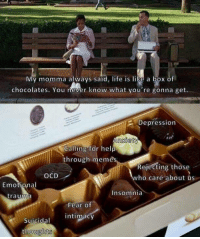 box of chocolates: My momma always said, life is like a box of  chocolates. You never know what you're gonna get.  2 Depression  Calling for help  through memes  Rejecting those  who care about us  OCD  Emotional  trauma  Insomnia  Fear o  Suicidal intimacy  thoughts