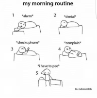 Everyday 😑🙄 thank you @isaac_sti @isaac_sti for sending me this 😂: my morning routine  alarm  denial  checks phone  *complain  i have to pee*  IG: radiooneleb Everyday 😑🙄 thank you @isaac_sti @isaac_sti for sending me this 😂