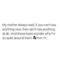 Funny, Hoe, and Hoes: My mother always said, if you can't say  anything nice, then don't say anything  at all. And these hoes wonder why I'm  so quiet around them  @sarcasm only ⠀