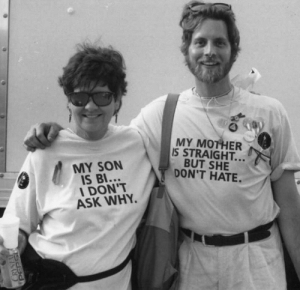 "Lgbt, Tumblr, and Blog: MY MOTHER  IS STRAIGHT..  BUT SHE  DON'T HATE.  MY SON  IS BI...  DON'T  ASK WHY. lgbt-history-archive:""MY SON IS BI…I DON'T ASK WHY."" – ""MY MOTHER IS STRAIGHT…BUT SHE DON'T HATE.,"" Michael Szymansky and his mother, March on Washington for Lesbian, Gay and Bi Equal Rights and Liberation, Washington, D.C., April 25, 1993. Photo by Lynn Harris Ballen (@lynnharrisb), c/o @onearchives. #lgbthistory #HavePrideInHistory #CrystalPepsi (at Washington, District of Columbia)"