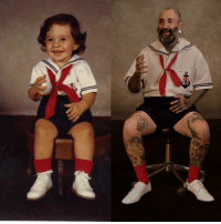 Old, Mother, and Made: My mother made me the 2 year old outfit and the 39 year old outfit.